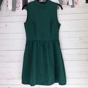 Alya Mockneck Fit and Flare Dress | Green
